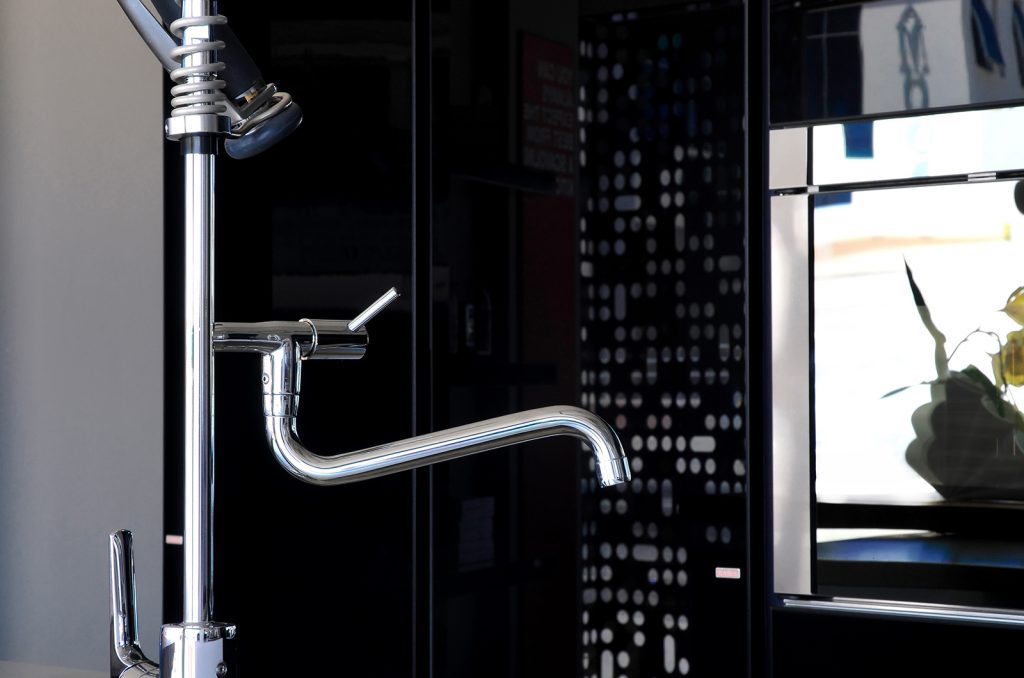 Modern faucet with chrome or stainless steel finishing